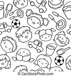 Doodle kids faces pattern