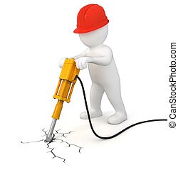 Worker with jackhammer. Image with clipping path
