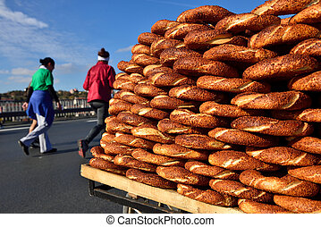 Simit, Traditional Turkish Fastfood - nice baked bagel sold...