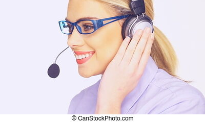 Beautiful young telesales lady wearing glasses and and a...