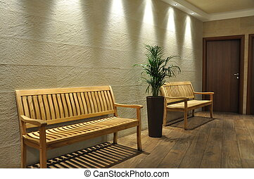 Empty bench in the waiting room