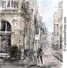 Illustration of city street. Girl riding on the bicycle....