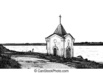 Old chapel on the riverbank in black and white - BW Old...