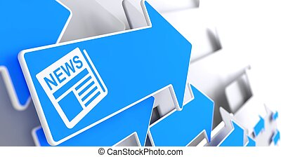 Newspaper Icon with News Title on Blue Arrow. - Newspaper...