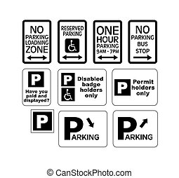 parking traffic signs vector