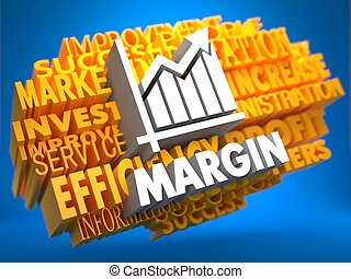 Margin. Wordcloud Concept. - Margin with Growth Chart Icon...