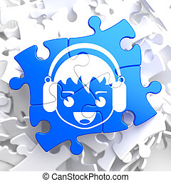 Boy with Headphones Icon on Blue Puzzle.