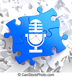 Microphone Icon on Blue Puzzle.