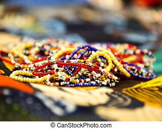 africano, perla, collares