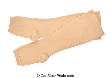 Medical compression stockings on white background. -...