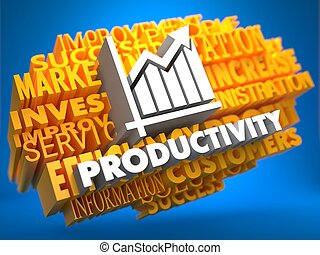Productivity Wordcloud Concept - Productivity with Growth...