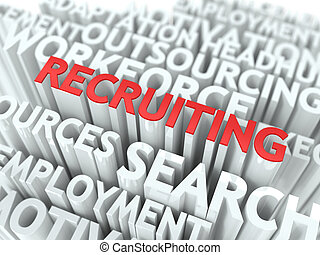 Recruiting - Red Text on White Wordcloud. - Recruiting - Red...