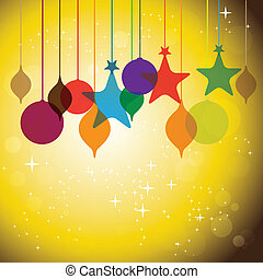 colorful hanging baubles on orange yellow background -...