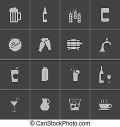 Vector black beer and beverage icons set