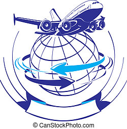 Cartoon airliner as a logo Available EPS-8 vector format...