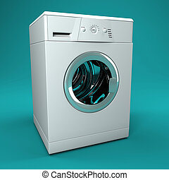 washing machine - fine image 3d of classic washing machine...