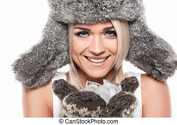 Retrato, excitado, sorrindo, loura, mulher, Inverno,...