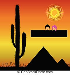 pyramids in the desert and kids vector illustration