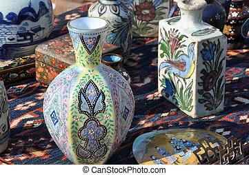 Flea market with porcelain