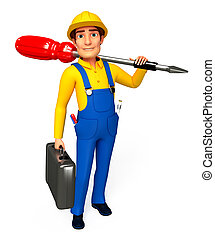 Plumber with screw driver - 3d rendered illustration of...
