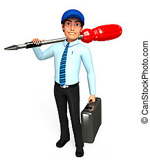 Service man with screw driver - 3d rendered illustration of...