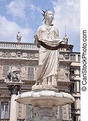 Piazza Erbe Verona, statue of the Madonna