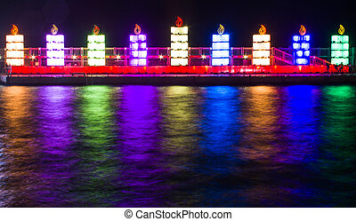 Hanukkah lights - The Jewish holiday of Hanukkah. Menorah in...