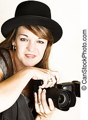 Female Photographer - Beautiful female photographer posing...