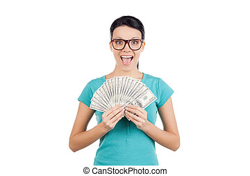 I am rich! Happy young woman in glasses holding money in her...