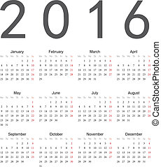 Simple european square calendar 2016 - Simple european...