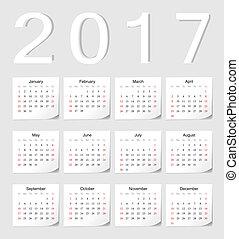 European 2017 calendar - European 2017 vector calendar with...