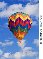 clouds and hot air balloon - fine image of white clouds and...