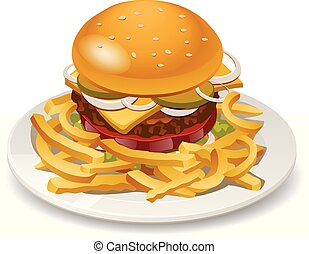 burger with fries - illustration of burger with fries,...