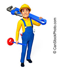 plumber with wrench - 3d rendered illustration of plumber...