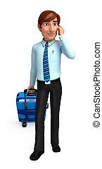 Service man with traveling bag - 3d rendered illustration of...