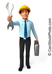 Service man with wrench - 3d rendered illustration of...