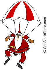 Skydiving Santa - This illustration depicts Santa Claus free...