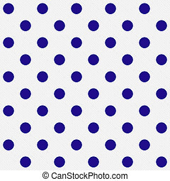 Bright Blue Polka Dots on White Textured Fabric Background