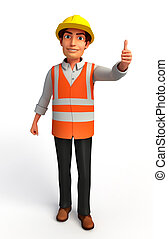 worker with best luck sign - 3d rendered illustration of...