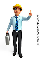 Service man with best luck sign - 3d rendered illustration...