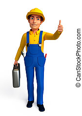 plumber with best luck sign - 3d rendered illustration of...