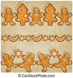 Christmas gingerbread cookies background - vector...