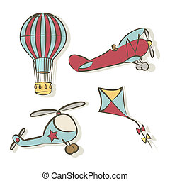 Set of flying icons - vector illustration