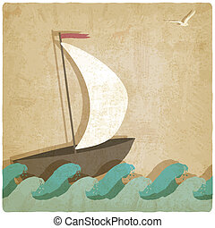 Vintage marine background with sailboat on waves