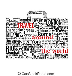 Travel around the world concept made with words drawing a...