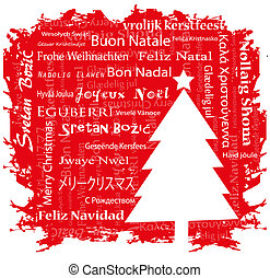 christmas  greetings postcard in various languages