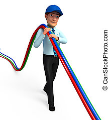 Service man with wires - 3d rendered illustration of Service...