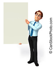 Service man with sign - 3d rendered illustration of Service...