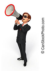 Young Business man with loudspeaker - 3d rendered...