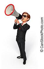 alto-falante, jovem, negócio, homem